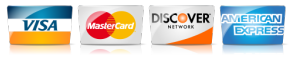 We accept Visa, Mastercard, AMEX and Discover.